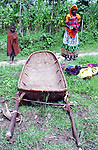 A family brought a hamac, a traditional transport used as an ambulance for emergency health evacuations, district of Burera, Rwanda