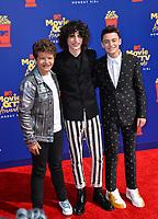 SANTA MONICA, USA. June 16, 2019: Gaten Matarazzo, Finn Wolfhard & Noah Schnapp at the 2019 MTV Movie & TV Awards at Barker Hangar, Santa Monica.<br /> Picture: Paul Smith/Featureflash