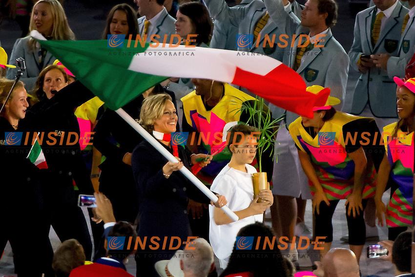 Federica Pellegrini ITA Italian Flag bearer<br /> Rio de Janeiro 06-08-2016 XXXI Olympic Games <br /> Maracana' Stadium <br /> Opening Ceremony 05/08/2016<br /> Photo Giorgio Scala/Deepbluemedia/Insidefoto
