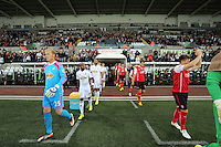 Pictured: The two teams, Swansea led by GerhardbTremmel (L) exit the tunnel. Tuesday 26 August 2014<br />
