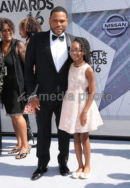 26 June 2016 - Los Angeles. Anthony Anderson, Marsai Martin. Arrivals for the 2016 BET Awards held at the Microsoft Theater. Photo Credit: Birdie Thompson/AdMedia