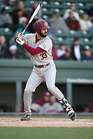 First baseman Chris Cullen (33) of the South Carolina Gamecocks bats in a game against the Furman Paladins on Tuesday, March 19, 2019, at Fluor Field at the West End in Greenville, South Carolina. South Carolina won, 12-7. (Tom Priddy/Four Seam Images)