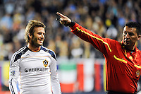 David Beckham (23) of the Los Angeles Galaxy reacts to a call by referee Jorge Gonzalez. The Los Angeles Galaxy defeated the Philadelphia Union  1-0 during a Major League Soccer (MLS) match at PPL Park in Chester, PA, on October 07, 2010.