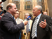 "Washington, D.C. - May 17, 2005 -- George Galloway , Member of Parliament for Bethnal Green and Bow, Great Britain, right, is interviewed by a reporter from al-Jazeera-TV, left, after giving testimony before the United States Senate Committee on Homeland Security and Governmental Affairs Permanent Subcommittee on Investigations hearing on ""Oil For Influence: How Saddam Used Oil to Reward Politicians Under the United Nations Oil-for-Food Program"" in Washington, D.C. on May 17, 2005.  .Credit: Ron Sachs / CNP"