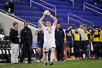 Tim Parker (18) of the St. John's Red Storm. St. John's defeated Villanova 2-0 during the second semifinal match of the Big East Men's Soccer Championships at Red Bull Arena in Harrison, NJ, on November 11, 2011.