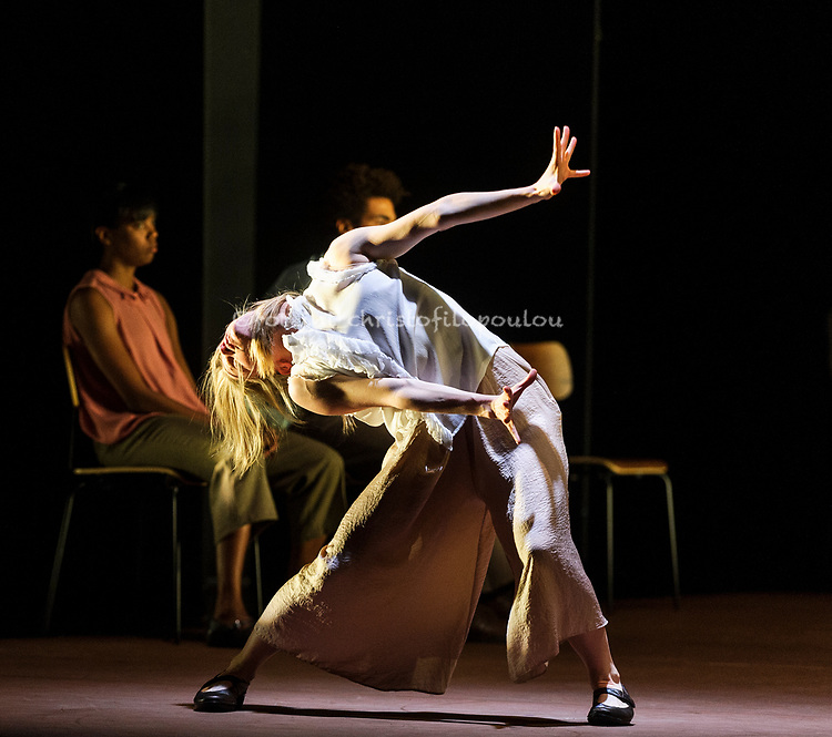 London, UK. 21.11.2017. Rambert presents 'Goat', a new dance theatre creation by Ben Duke as part of their show at Sadler's Wells Theatre, 21-15 November 2017. The work is inspired by the music and spirit of Nina Simone, with a selection of her best-loved songs – including Feeling Good, Ain't Got No/I Got Life and Feelings – performed live by an onstage band led by jazz singer Nia Lynn. Dancers are: Luke Ahmet, Miguel Altunaga, Lucy Balfour, Carolyn Bolton, Simone Damberg Würtz, Daniel Davidson, Brenda Lee Grech, Liam Francis, Juan Gil, Adam Park, Hannah Rudd, Vanessa Kang, Sharia Johnson, Joshua Barwick, Stephen Quildan, Pierre Tappon. Photo shows: Hannah Rudd. Photo - © Foteini Christofilopoulou.