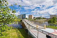 Centennial footbridge across the Chena River in downtown, Fairbanks, Alaska