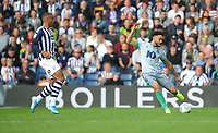 Blackburn Rovers' Derrick Williams under pressure from West Bromwich Albion's Kenneth Zohore<br /> <br /> Photographer Kevin Barnes/CameraSport<br /> <br /> The EFL Sky Bet Championship - West Bromwich Albion v Blackburn Rovers - Saturday 31st August 2019 - The Hawthorns - West Bromwich<br /> <br /> World Copyright © 2019 CameraSport. All rights reserved. 43 Linden Ave. Countesthorpe. Leicester. England. LE8 5PG - Tel: +44 (0) 116 277 4147 - admin@camerasport.com - www.camerasport.com