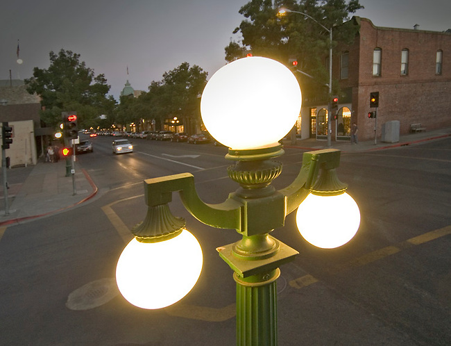 Traditional street light in St. Helena.  Series of these lights came from San Francisco world's fair 1920s?.