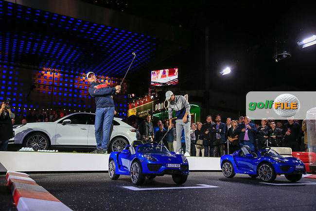 Richard McEvoy (GBR) and Max Schmidt (GER) at the Porsche Urban Golf Challenge in the Reeperbahn the famous Red light district in Hamburg ahead of the Porsche European Open at Green Eagles Golf Club, Luhdorf, Winsen, Germany. 03/09/2019.<br /> Picture Fran Caffrey / Golffile.ie<br /> <br /> All photo usage must carry mandatory copyright credit (© Golffile   Fran Caffrey)