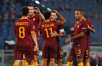 Calcio, Europa League: Roma vs Astra Giurgiu. Roma, stadio Olimpico, 29 settembre 2016.<br /> Roma&rsquo;s Mohamed Salah, center, celebrates after scoring during the Europa League Group E soccer match between Roma and Astra Giurgiu at Rome's Olympic stadium, 29 September 2016. Roma won 4-0.<br /> UPDATE IMAGES PRESS/Riccardo De Luca