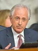 "United States Senator Bob Corker (Republican of Tennessee) asks a question during testimony before the United States Senate Committee on Aging hearing on ""Valeant Pharmaceuticals' Business Model: the Repercussions for Patients and the Health Care System"" on Capitol Hill in Washington, DC on Wednesday, April 27, 2016.  Valeant raised the price of four life-saving drugs: Isuprel by about 720 percent; Nitropress by 310 percent; Cuprimine by 5,878 percent, and Syprine by 3,162 percent after acquiring them in 2015. It is the high prices that are now at the heart of two congressional probes.<br /> Credit: Ron Sachs / CNP"