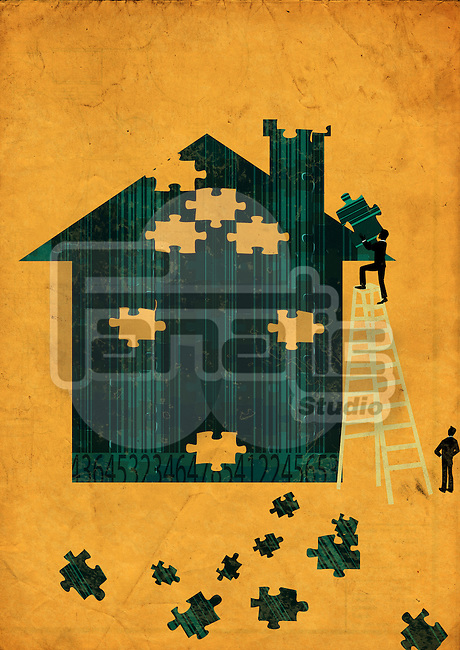 Men arranging jigsaw puzzle pieces to build a house