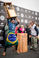 BELLS BEACH, Torquay, Victoria, Australia    (Thursday, April 5, 2018) Italo Ferreira (BRA) and Rip Curl founder Doug  'Claw&quot; Warbrick (AUS) - The Rip Curl Pro Bells Beach, Stop No. 2 on the World Surf League (WSL) Championship Tour (CT), wrapped up today with some solid clean 2m waves coming through Bells on the incoming tide.<br /> Italo Ferreira (BRA) could not have chosen a more dramatic context in which to earn his first-ever Championship Tour event win. Thursday afternoon at the Rip Curl Pro Bells Beach, the electric Brazilian defeated the man of the hour, three-time World Champion Mick Fanning (AUS), whose impending retirement after Bells added a bittersweet weight to the proceedings. <br /> <br /> <br /> But when the two paddled out for what would be a first for one of them, and a last for the other, none of that mattered to Ferreira. Instead, he showcased what he is capable of, and made his first serious step toward joining a World Title conversation.<br /> <br /> Plus, if you're going to win your first CT event, taking home the most coveted trophy in surfing isn't a bad way to go about it. Add Mick Fanning to the mix and it's even sweeter.<br /> <br /> &quot;I can't believe it,&quot; said Ferreira. &quot;It's just amazing. Mick Fanning is a hero to me. He's inspired me every single day, at every single competition. Remember his movie 3 Degrees? I've seen that 2000 times.&quot; <br /> <br /> Six-time World Champion Stephanie Gilmore (AUS)  took a step toward winning a seventh Title Thursday when she won the Rip Curl Women's Pro Bells Beach. She also became one of just a few surfers -- Mark Richards, Kelly Slater and Mick Fanning among them -- to ring the winner's bell an incredible fourth time. Photo: joliphotos.com