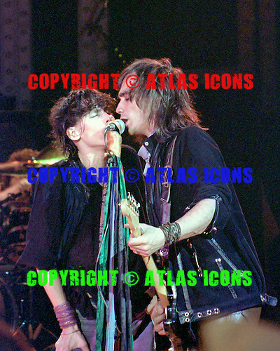 EAST RUTHERFORD, NJ DECEMBER 13: Steven Tyler and Jimmy Crespo of Aerosmith perform at Brendan Byrne Arena on December 13, 1983 in East Rutherford, New Jersey. photo by Larry Marano © 1983