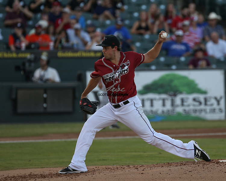 Round Rock Express starting pitcher Michael Roth on the mound during the Minor League Baseball game between the Round Rock Express, wearing promotional Round Rock Fire Ants jerseys, and the Fresno Grizzlies at Dell Diamond in Round Rock on Thursday, July 21, 2016. Round Rock won 3-0.