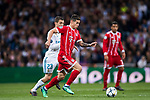 James Rodriguez (R) of FC Bayern Munich battles for the ball with Mateo Kovacic of Real Madrid during the UEFA Champions League Semi-final 2nd leg match between Real Madrid and Bayern Munich at the Estadio Santiago Bernabeu on May 01 2018 in Madrid, Spain. Photo by Diego Souto / Power Sport Images