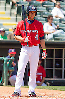 Oklahoma City RedHawks left fielder Robbie Grossman (4) prepares to bat during the Pacific League game at the Chickasaw Bricktown Ballpark against the New Orleans Zephyrs on April 13, 2014 in Oklahoma City, Oklahoma.  The RedHawks defeated the Zephyrs 4-3.  (William Purnell/Four Seam Images)