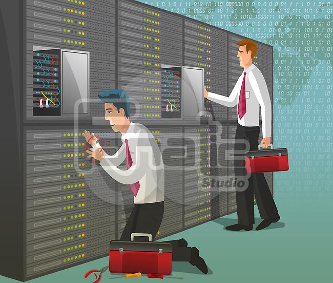 Computer technicians working in server room