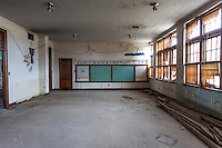 Inside view of a classroom in an abandoned school in Park, KS