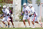 Los Angeles, CA 03/20/10 - Cooper Robbins (Arizona # 10) and Kyle Daly (Arizona # 9) in action during the Arizona-Loyola Marymount University MCLA game at Leavey Field (LMU).  LMU defeated Arizona 13-6.