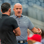 15 August 2017: Washington Nationals General Manager Mike Rizzo chats with media members prior to a game against the Los Angeles Angels at Nationals Park in Washington, DC. The Nationals defeated the Angels 3-1 in the first game of their 2-game series. Mandatory Credit: Ed Wolfstein Photo *** RAW (NEF) Image File Available ***
