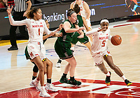 COLLEGE PARK, MD - DECEMBER 8: Kaila Charles #5 of Maryland pushes past Delaney Connolly #23 of Loyola during a game between Loyola University and University of Maryland at Xfinity Center on December 8, 2019 in College Park, Maryland.