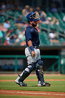 Mobile BayBears catcher Julian Leon (20) during a Southern League game against the Montgomery Biscuits on May 2, 2019 at Riverwalk Stadium in Montgomery, Alabama.  Mobile defeated Montgomery 3-1.  (Mike Janes/Four Seam Images)