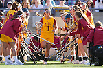 Los Angeles, CA 02/09/13 - Courtney Tarleton (USC #1) emerges from the USC team huddle.
