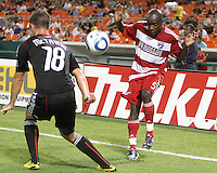 Devon McTavish #18 of D.C. United blocks a cross from Jair Benitez #5 of FC Dallas during an MLS match at RFK Stadium in Washington D.C. on August 14 2010. Dallas won 3-1.