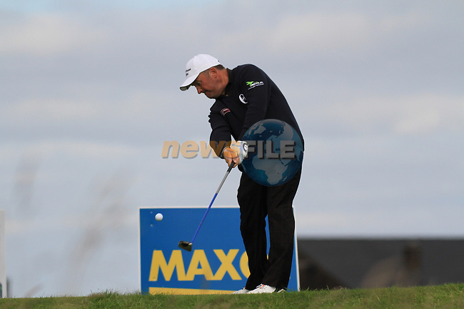 Day 3 of the 100th Irish PGA championship at Seapoint Golf Club, Co Louth..Damien McGrane teeing off on the 13th.Picture Fran Caffrey/www.golffile.ie.