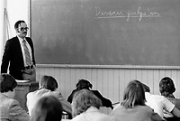 March 1975 File photo -  Teacher and students in a French Catholic school of Quebec province.