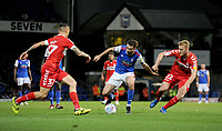 Ipswich Town's Gwion Edwards under pressure from Middlesbrough's George Saville <br /> <br /> Photographer Hannah Fountain/CameraSport<br /> <br /> The EFL Sky Bet Championship - Ipswich Town v Middlesbrough - Tuesday 2nd October 2018 - Portman Road - Ipswich<br /> <br /> World Copyright &copy; 2018 CameraSport. All rights reserved. 43 Linden Ave. Countesthorpe. Leicester. England. LE8 5PG - Tel: +44 (0) 116 277 4147 - admin@camerasport.com - www.camerasport.com