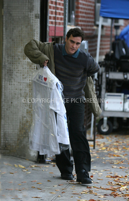 "WWW.ACEPIXS.COM . . . . .  ....November 15 2007, New York City....Actor Joaquin Phoenix shoots a scemne for his latest movie ""Two Lovers"" outside a drycleaners in Brighton Beach, Brooklyn.....Please byline: VAUGHAN/SOKALNER - ACEPIXS.COM..... *** ***..Ace Pictures, Inc:  ..te: (646) 769 0430..e-mail: info@acepixs.com..web: http://www.acepixs.com"