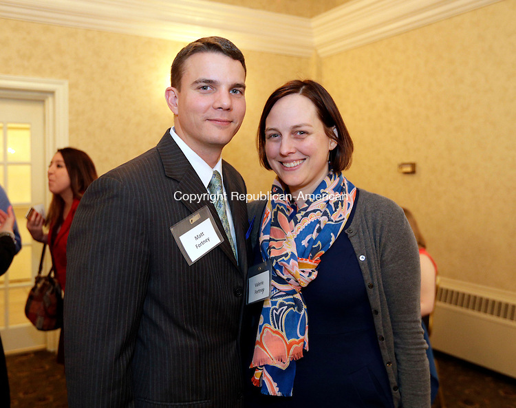 Naugatuck, CT- 24 March 2016-032416CM15- Social moments----   From left,  Matt and Valerie Fortney of Naugatuck, are photographed during the United Way of Naugatuck and Beacon Falls annual meeting at the Crystal Room in Naugatuck on Thursday.    Christopher Massa Republican-American