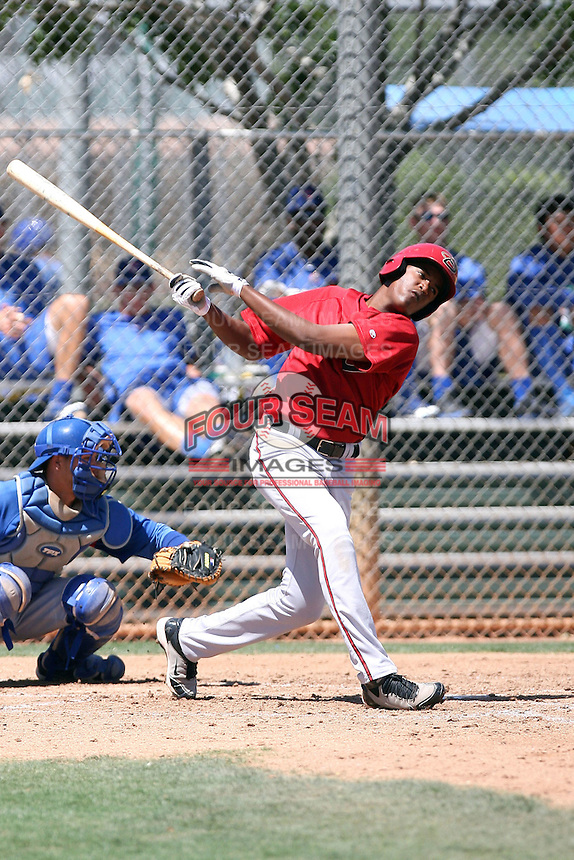 Socrates Brito #19 of the Arizona Diamondbacks plays in an extended spring training game against the Chicago Cubs at the Cubs minor league complex on April 22, 2011  in Mesa, Arizona. .Photo by:  Bill Mitchell/Four Seam Images.