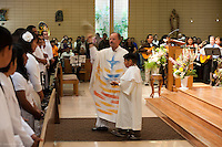 Easter Mass at St. Sebastian Catholic Church in Los Angeles.  Baptisms, Confoirmations and First Communions.  A beautiful celebration.