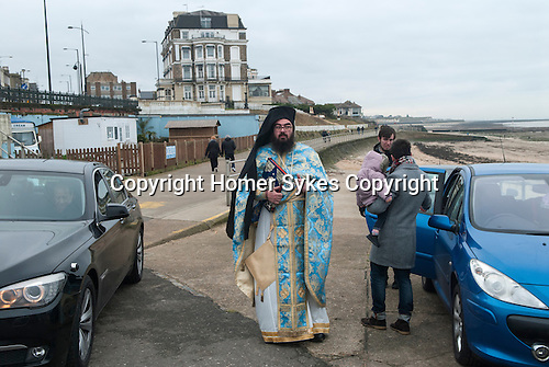 Greek community in England. Blessing the Sea Margate Kent  UK. Epiphany January 6th. The Very Revd. Archimandrite Vissarion Kokliotis.