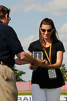 Sara Whalen is presented an award by Sky Blue FC general manager Gerry Marrone honoring her for being part of the 1999 Women's World Cup winning team. Sky Blue FC defeated the Boston Breakers 1-0 during a Women's Professional Soccer match at Yurcak Field in Piscataway, NJ, on July 4, 2009.