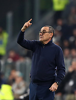 Calcio, Serie A: Juventus - Milan, Turin, Allianz Stadium, November 10, 2019.<br /> Juventus' coach Maurizio Sarri speaks to his players during the Italian Serie A football match between Juventus and Milan at the Allianz stadium in Turin, November 10, 2019.<br /> UPDATE IMAGES PRESS/Isabella Bonotto