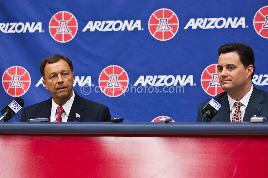 Apr 7, 2009; Tucson, AZ, USA; Arizona Wildcats athletics director Jim Livengood and new head coach Sean Miller speak to the media during an introductory press conference at the McKale Center.