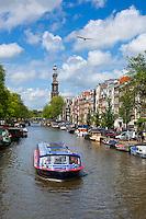 Netherlands, North Holland, Amsterdam: Prinsengracht with Westerkerk tower | Niederlande, Nordholland, Amsterdam: Prinsengracht mit dem Turm der Westerkerk