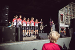 Lotto-Soudal Ladies at the Team presentation of La Fleche Wallonne Femmes 2018 running 118.5km from Huy to Huy, Belgium. 17/04/2018.<br /> Picture: ASO/Thomas Maheux | Cyclefile.<br /> <br /> All photos usage must carry mandatory copyright credit (© Cyclefile | ASO/Thomas Maheux)