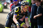 A bloodied Sylvain Chavanel (FRA) Direct Energie on one of the pave sectors during the 116th edition of Paris-Roubaix 2018. 8th April 2018.<br /> Picture: ASO/Pauline Ballet | Cyclefile<br /> <br /> <br /> All photos usage must carry mandatory copyright credit (&copy; Cyclefile | ASO/Pauline Ballet)