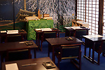 Traditional Japanese calligraphy study class room interior in a Buddhist temple, Daigoji, Kyoto, Japan