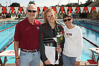 STANFORD, CA - FEBRUARY 13:  Whitney Spence of the Stanford Cardinal on Senior Day during Stanford's 167-131 win over California at the Avery Aquatic Center on February 13, 2010 in Stanford, California.