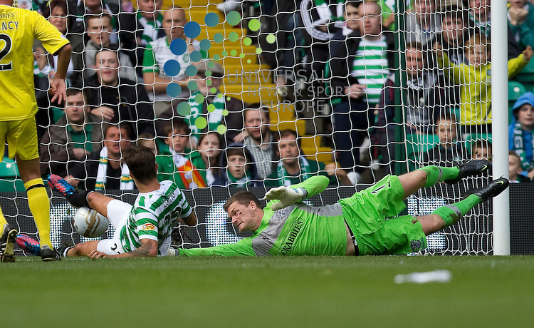 Glasgow Celtic v Hibernian  SPL season 2012-2013 ..Mikael Lustig scores celtic second during the Clydesdale Bank Premier League match between Celtic and Hibernian at Celtic Park Stadium on 18th August 2012..Picture: Alan Rennie/Universal News and Sport (Scotland)..