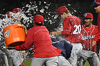 Pitcher Nick Fanti (20) of the Lakewood BlueClaws gets a celebration shower after combining with Trevor Bettencourt to throw a no-hitter against the Columbia Fireflies on Saturday, May 6, 2017, at Spirit Communications Park in Columbia, South Carolina. Fanti pitched a scoreless 8 and two-thirds, with Bettencourt picking up the final out for a 1-0 win. (Tom Priddy/Four Seam Images)