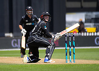 Henry Nicholls plays a scoop shot during the One Day International cricket match between the NZ Black Caps and Pakistan at the Basin Reserve in Wellington, New Zealand on Saturday, 6 January 2018. Photo: Dave Lintott / lintottphoto.co.nz