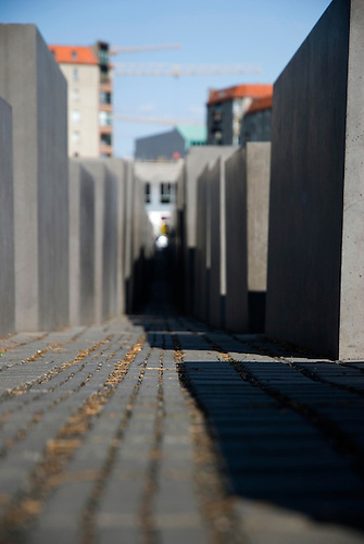 Low angle on the Jewish holocaust memorial Berlin Germany,